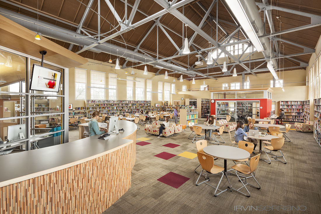 Students studying in a newly renovated library at Thorton Academy.