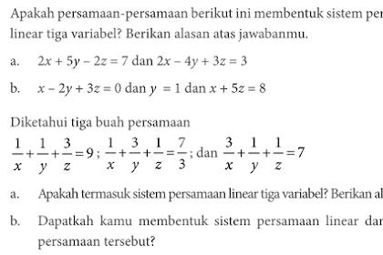 Bahas Soal Matematika Kelas X Kurikulum 2013 Uji Kompetensi 2.1 Tentang SPLTV