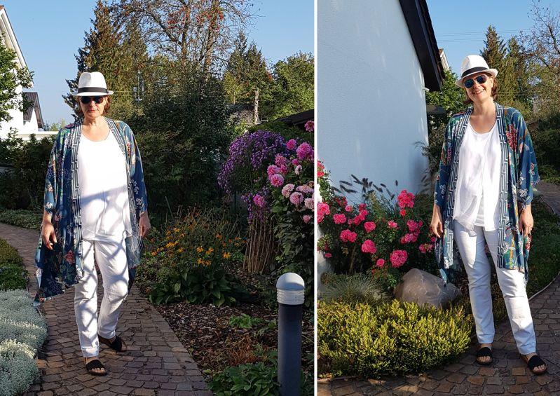 Hydrangea Bird von GP & J Baker - Kimono mit weißer Kleidung kombiniert.