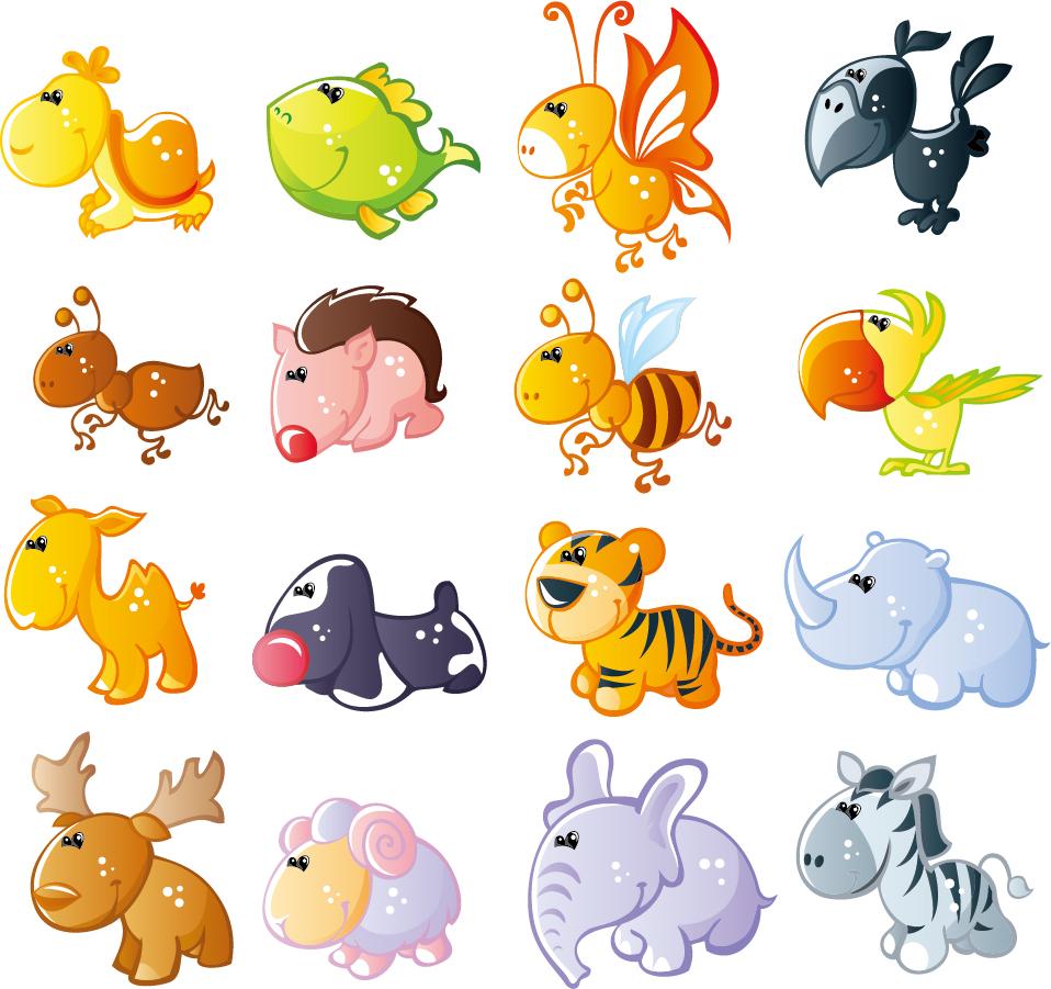 可愛い動物のクリップアート cute cartoon animals vector イラスト素材1