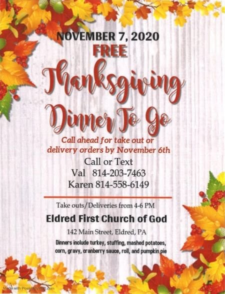 11-7 Free Thanksgiving To Go At The Eldred first Church Of God