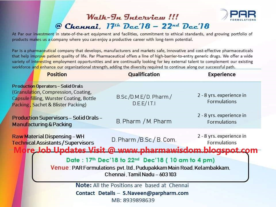 PAR Formulations – Walk-In Interview for Multiple Openings in