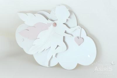 Invitatii Botez su forma de nor cu Ingeras Roz decupat cu aripi mobile si inima roz