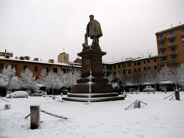 Piazza Garibaldi under the snow, Livorno
