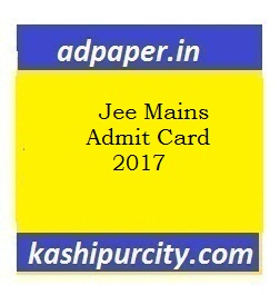 Jee Mains Admit Card 2017