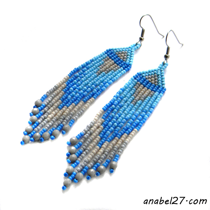 длинные голубые серьги из бисера купить в интернет магазине россия