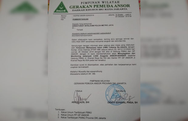 HMI Dikabarkan akan Demo Kantor PBNU, GP Ansor Siagakan 2.000 Banser