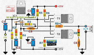 50 Watt audio power amplifier circuit