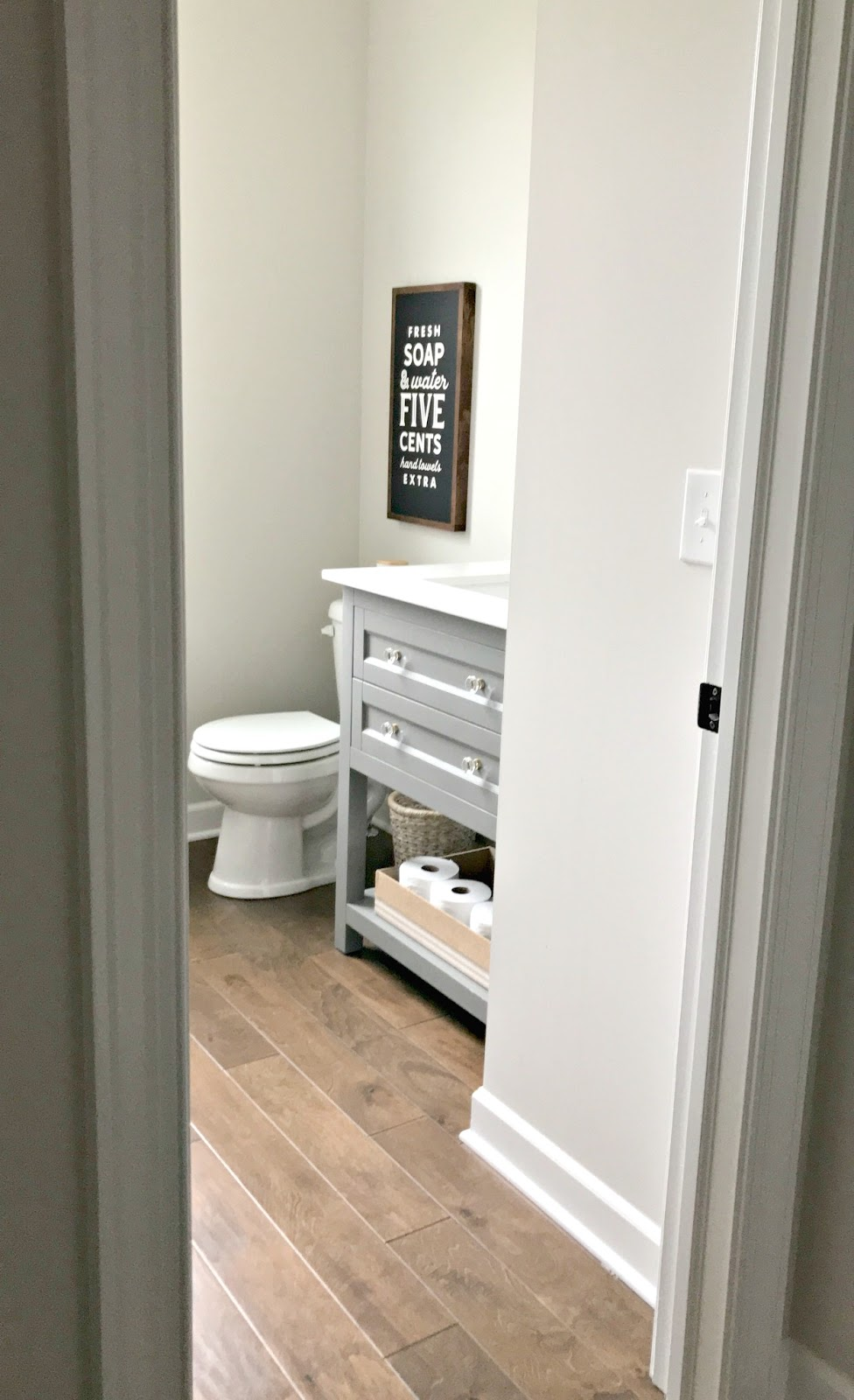 Small powder room with gray vanity