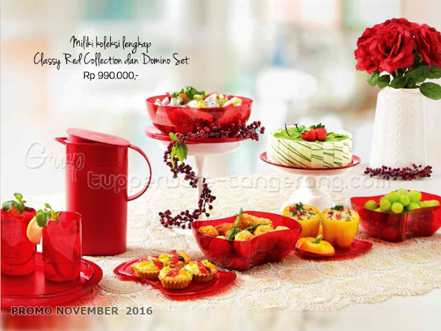 Classy Red dan Domino Set Promo Tupperware November 2016
