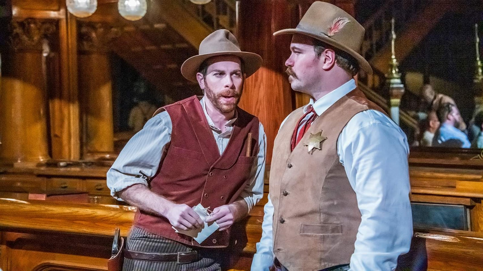 IN REVIEW: bass TYLER PUTNAM as Ashby (left) and baritone DANIEL SCOFIELD as Jack Rance (right) in Opera Orlando's February 2020 Opera on the Town production of Giacomo Puccini's LA FANCIULLA DEL WEST [Photograph by Brion Price Photography, © by Opera Orlando]