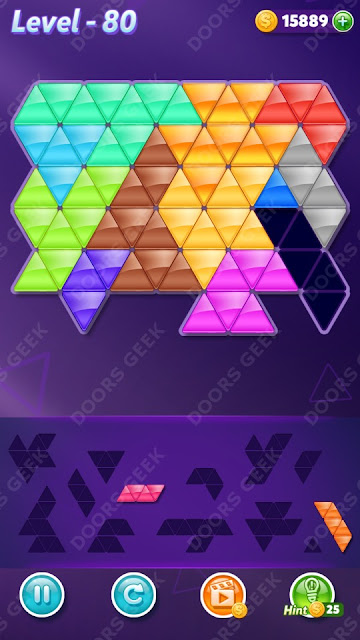 Block! Triangle Puzzle 12 Mania Level 80 Solution, Cheats, Walkthrough for Android, iPhone, iPad and iPod