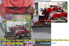 Fata Mulberry Rose Queen B2 160×200 2 Sarung Bantal 2 Sarung Guling Merah Hitam Bunga 3D Dewasa Poly TC
