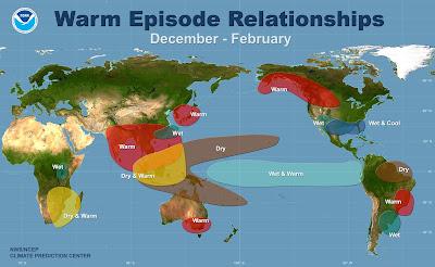 Planisphère global montrant des anomalies chaudes de la températures en Afrique Australe, Asie du SE, Australie, Japon, Alaska et Canada, Brésil, des anomalies froides dans le Sud des USA, des anomalies sèches en Afrique Autrale, Indonésié Polynésie et Amazonie, des anomalies humides dans le Sud des USA, dans l'intérieur de l'Afrique et au Brésil