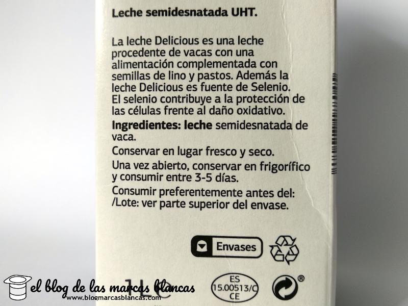 Ingredientes de la leche semidesnatada UHT fuente de calcio y selenio - DELICIOUS de Dia.