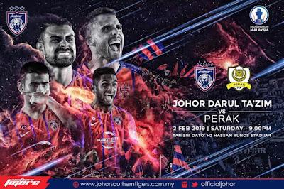 Live Streaming JDT vs Perak Piala Sumbangsih 2.2.2019