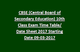 CBSE (Central Board of Secondary Education) 10th Class Exam Time Table/ Date Sheet 2017 Starting Date 09-03-2017