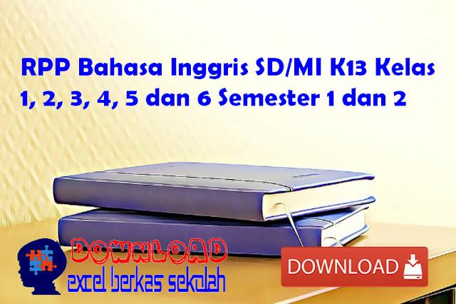 RPP Bahasa Inggris SD/MI K13 Kelas 1, 2, 3, 4, 5 dan 6 Semester 1 dan 2