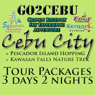 Cebu City + Crown Regency Sky Experience Adventure + Pescador Island Hopping + Kawasan Falls Nature Trek in Cebu Tour Itinerary 3 Days 2 Nights Package (Check-in at Shangri-La Mactan Resort & Spa)