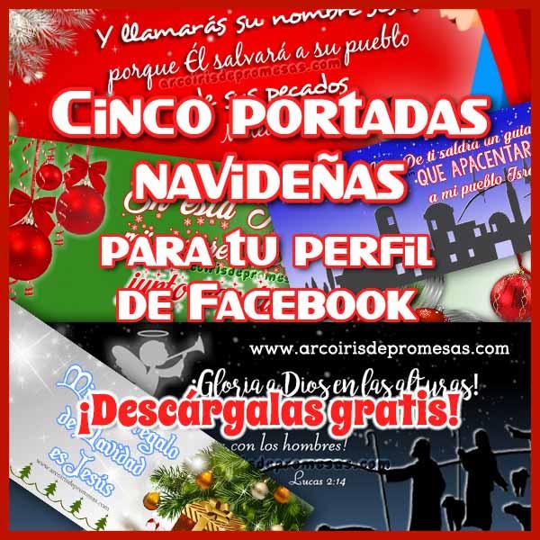cinco portadas navideñas para facebook imágenes de navidad arcoiris de promesas