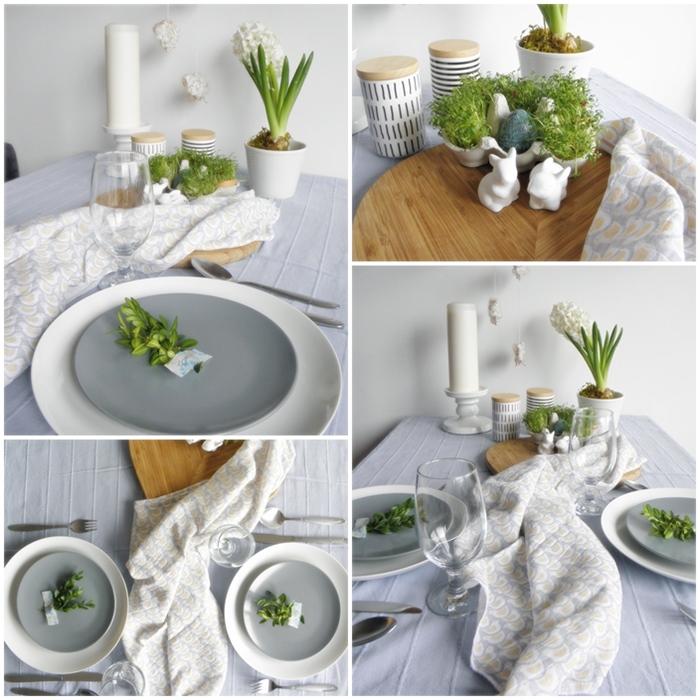 stół wielkanocny w bieli i błękicie | levelupstudio