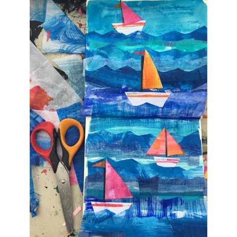 Tracey English, sketchbook, art, sailboats, waves, collage