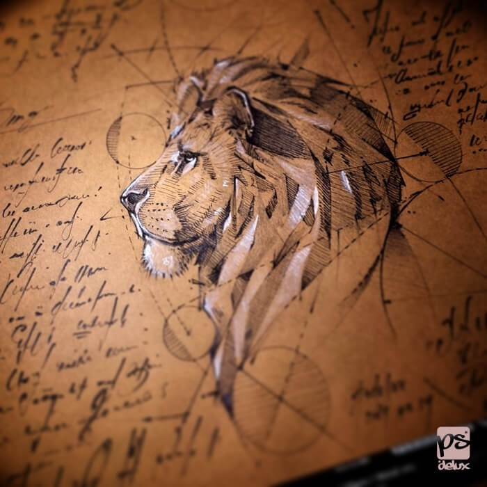 09-Lion-psdelux-Geometric-Animal-Sketches-and-1-Alien-www-designstack-co