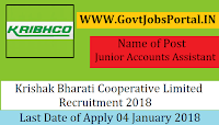 Krishak Bharati Cooperative Limited Recruitment 2018– Junior Accounts Assistant