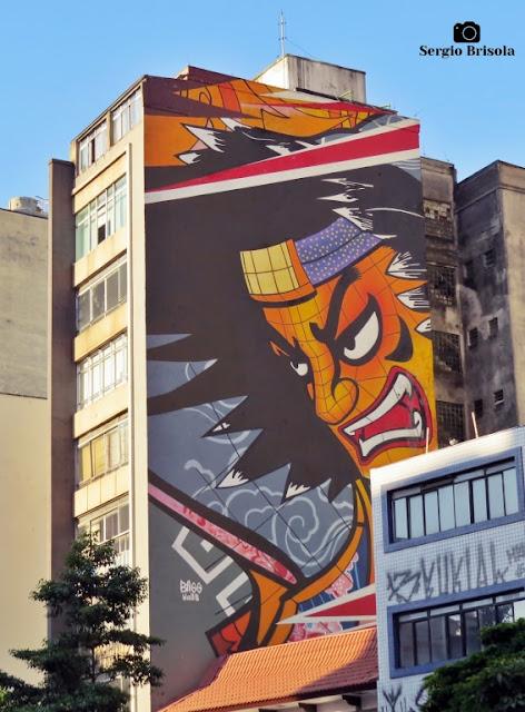 Vista ampla do Mural Samurai - Liberdade - São Paulo