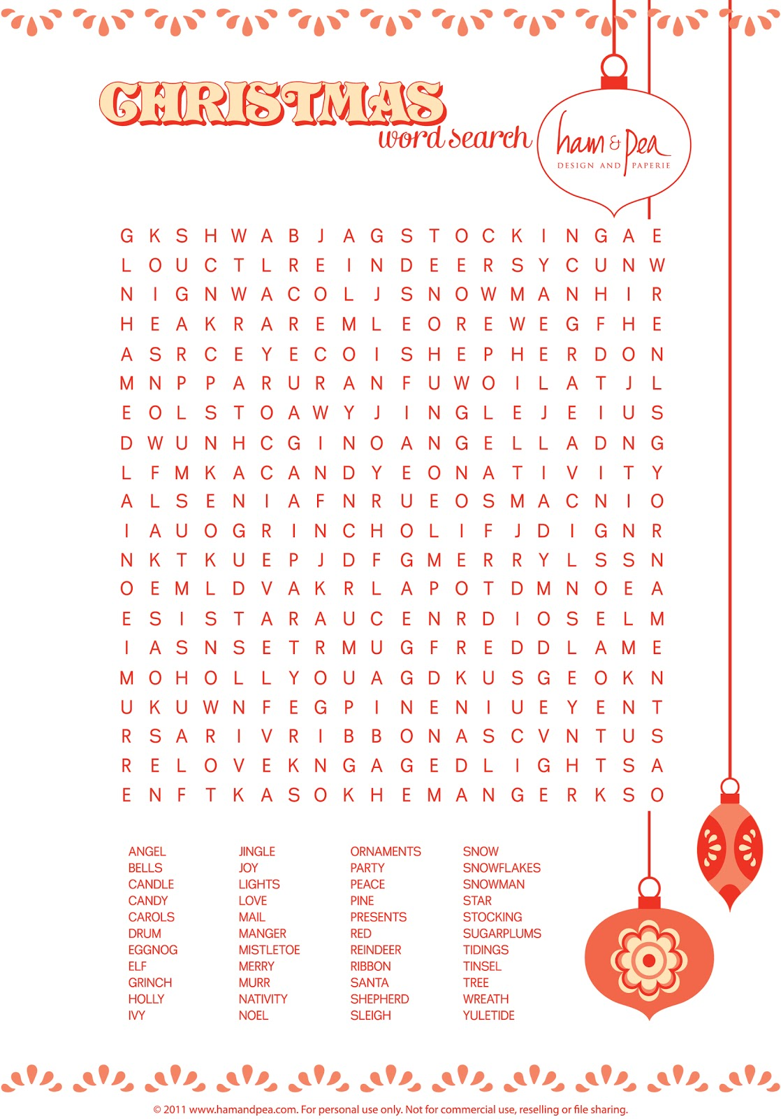 One Lovely Day Free Christmas Word Search