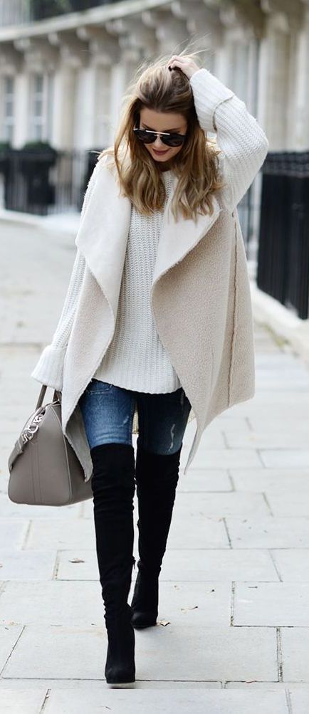 White Knit and Knee-length Boots