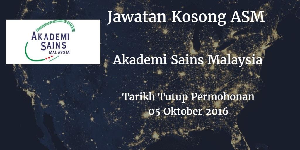 Jawatan Kosong ASM 05 Oktober  2016