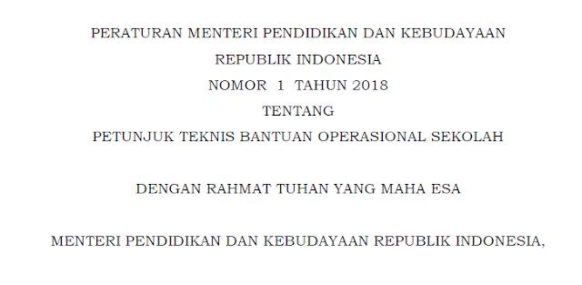 Permendikbud Nomor 1 Tahun 2018