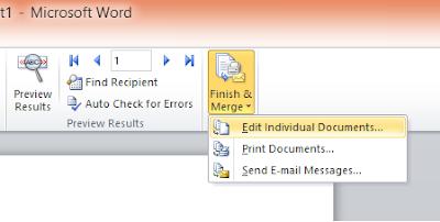 Step terakhir Dalam Membuat Mail Merge