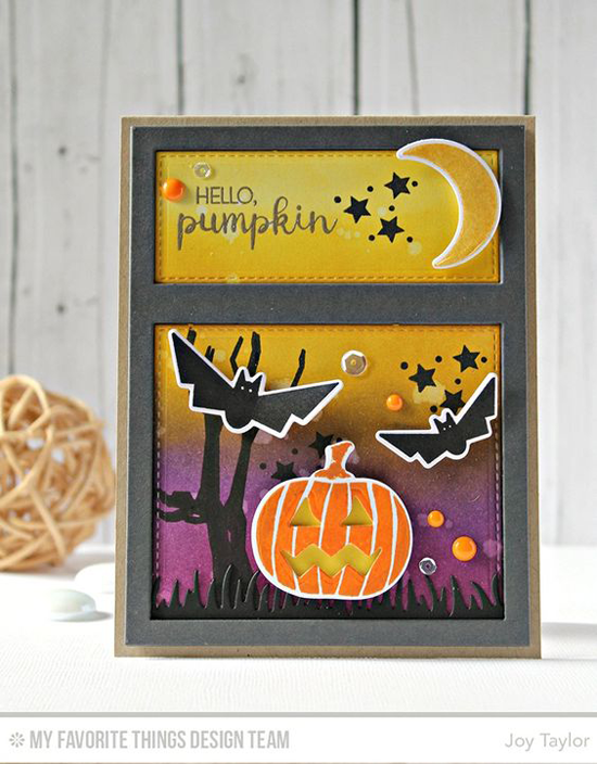 Handmade card from Joy Taylor featuring Lisa Johnson Designs Spooky Sweets stamp set and Die-namics, Fresh Cut Grass and Essential Cover-Up - Vertical Die-namics #mftstamps