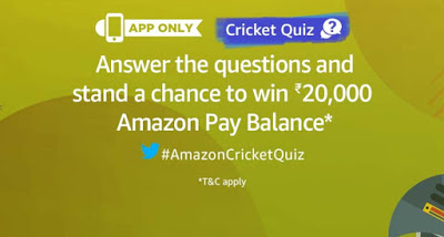 Amazon Cricket Quiz – Answer of Quiz Added & win Rs 20,000