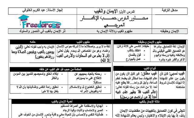 دروس التربية الإسلامية للأولى باكالوريا وفق المنهاج الجديد