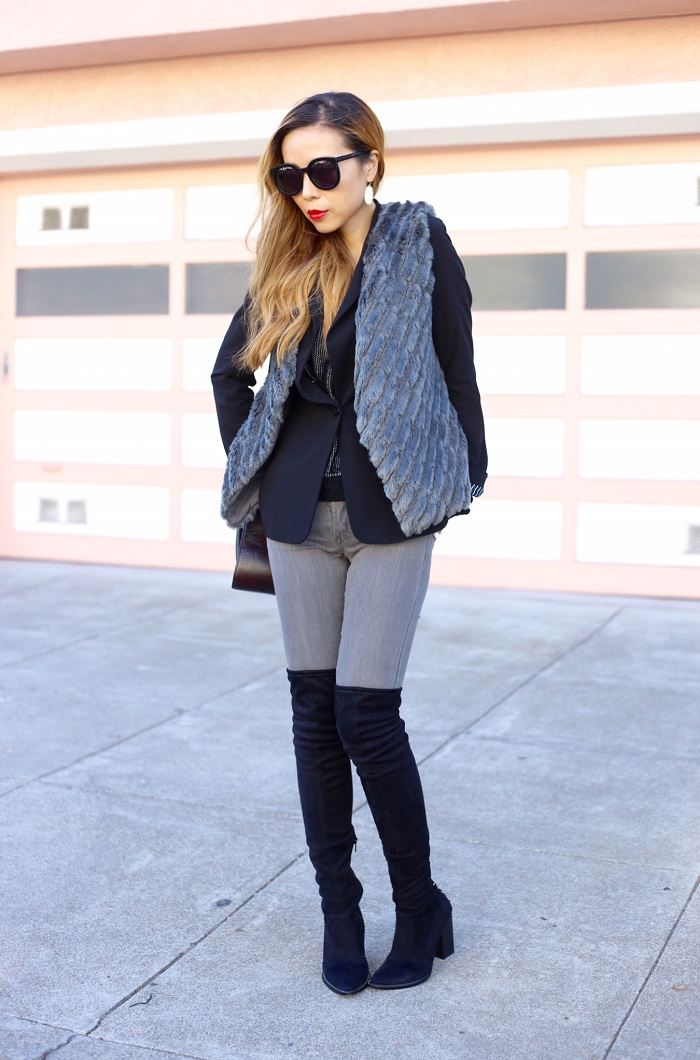 BB DAKOTA Keith Faux Fur Vest, black blazer, alexander wang bag, karen walker super duper sunglasses, blank denim grey skinny jeans, steve madden over the knee boots, OTK boots, fashion blog, kendra scott earrings, san francisco, street style, nyc blogger