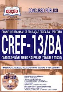 baixe apostila Concurso CREF 13ª Região 2018 PDF