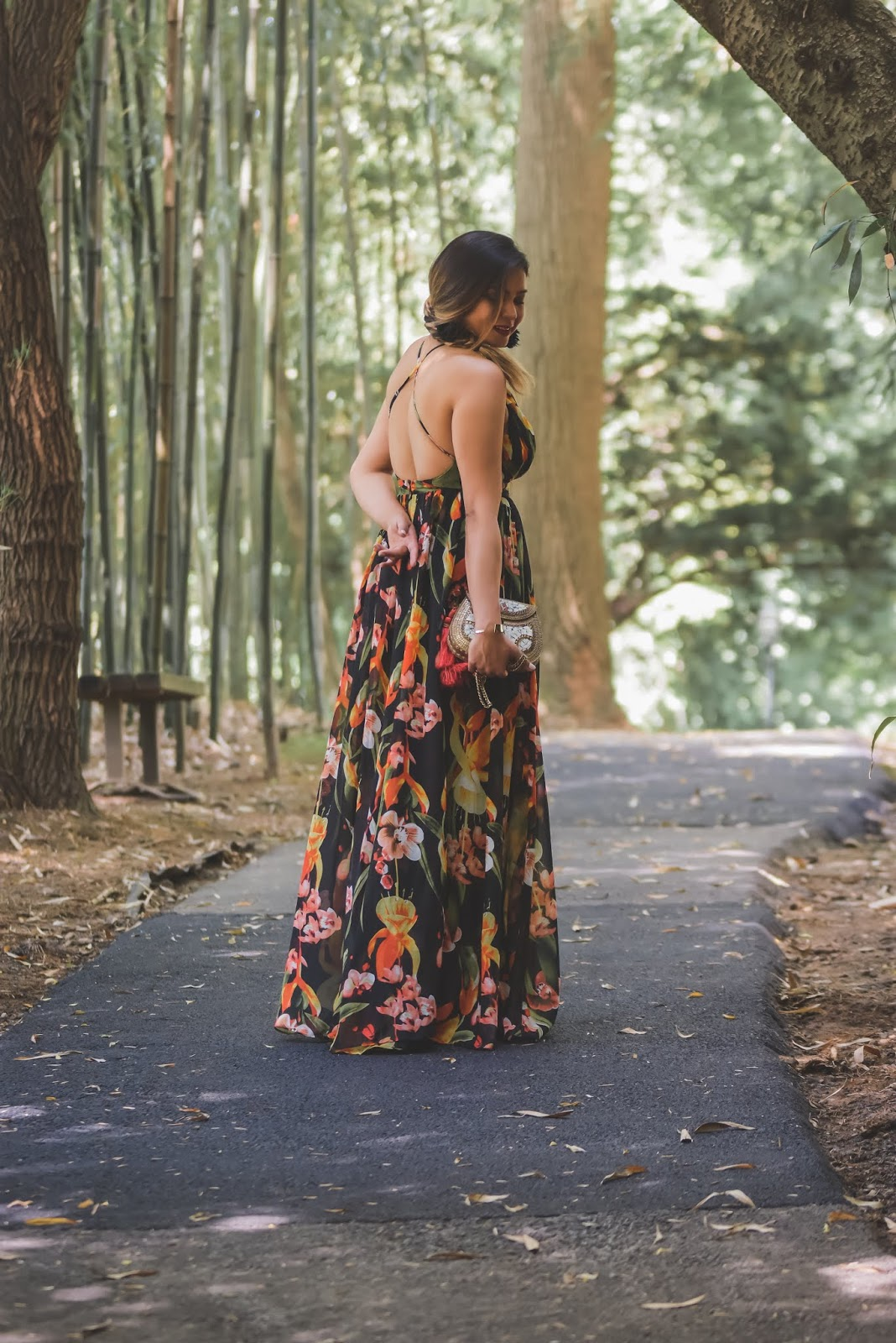 wedding guest style, maxi dress, front plunge dress, low neck maxi dress, forever 21 black floral dress, party ready, sexy, side braid, feather earings, sam edleman clutch, summer floral dress, yellow heels, myriad musings