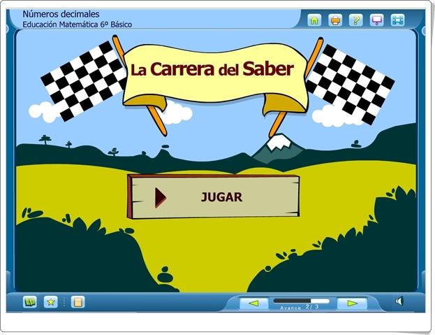 """La Carrera del Saber: """"Números decimales"""" (Juego de Matemáticas de Primaria)"""