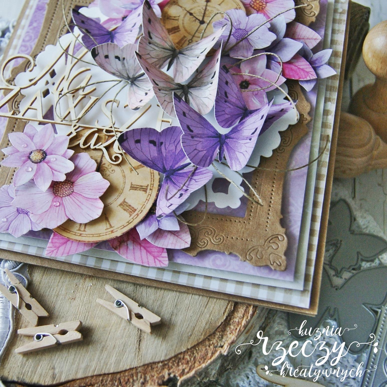 Piękna kartka ślubna lub walentynkowa w fioletowej kolorystyce.