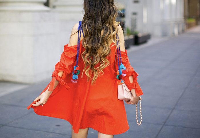 Pom pom dress, asos cold shoulder dress with pom pom straps, baublebar tassel earrings, sole society sandals, chanel classic flap bag, as seen on me, shopbop sale, summer outfit ideas, san francisco fashion blog, san francisco street style