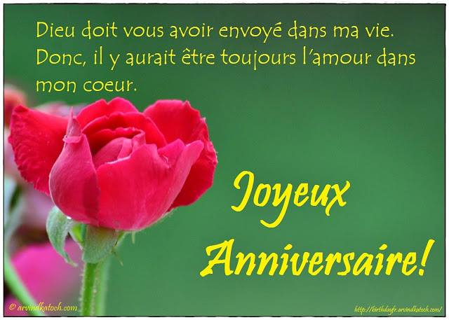 French, Birthday Card, Dieu, vous, avoir,