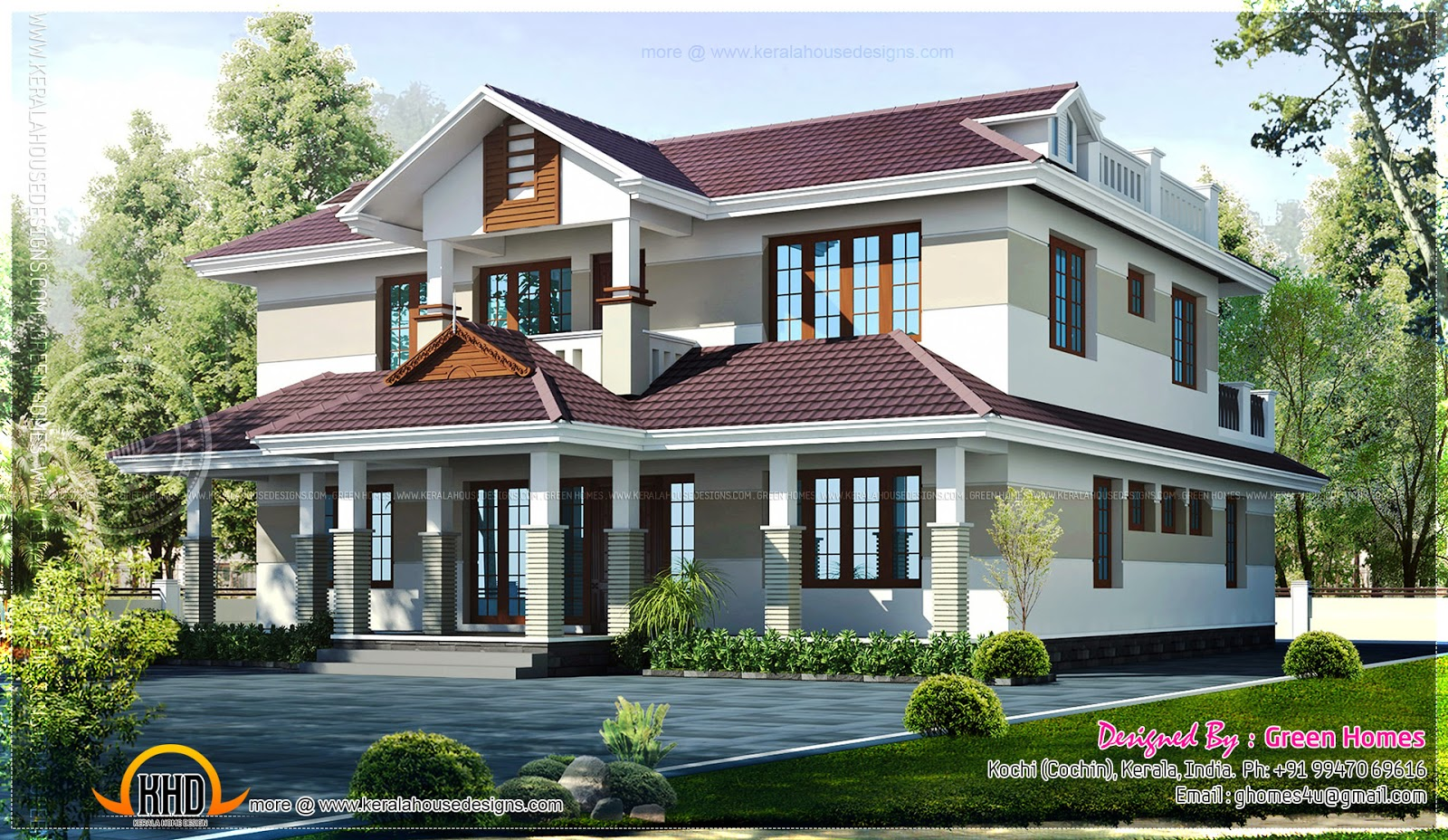 Beautiful kerala home in 228 square meter home kerala plans for Most beautiful house in kerala