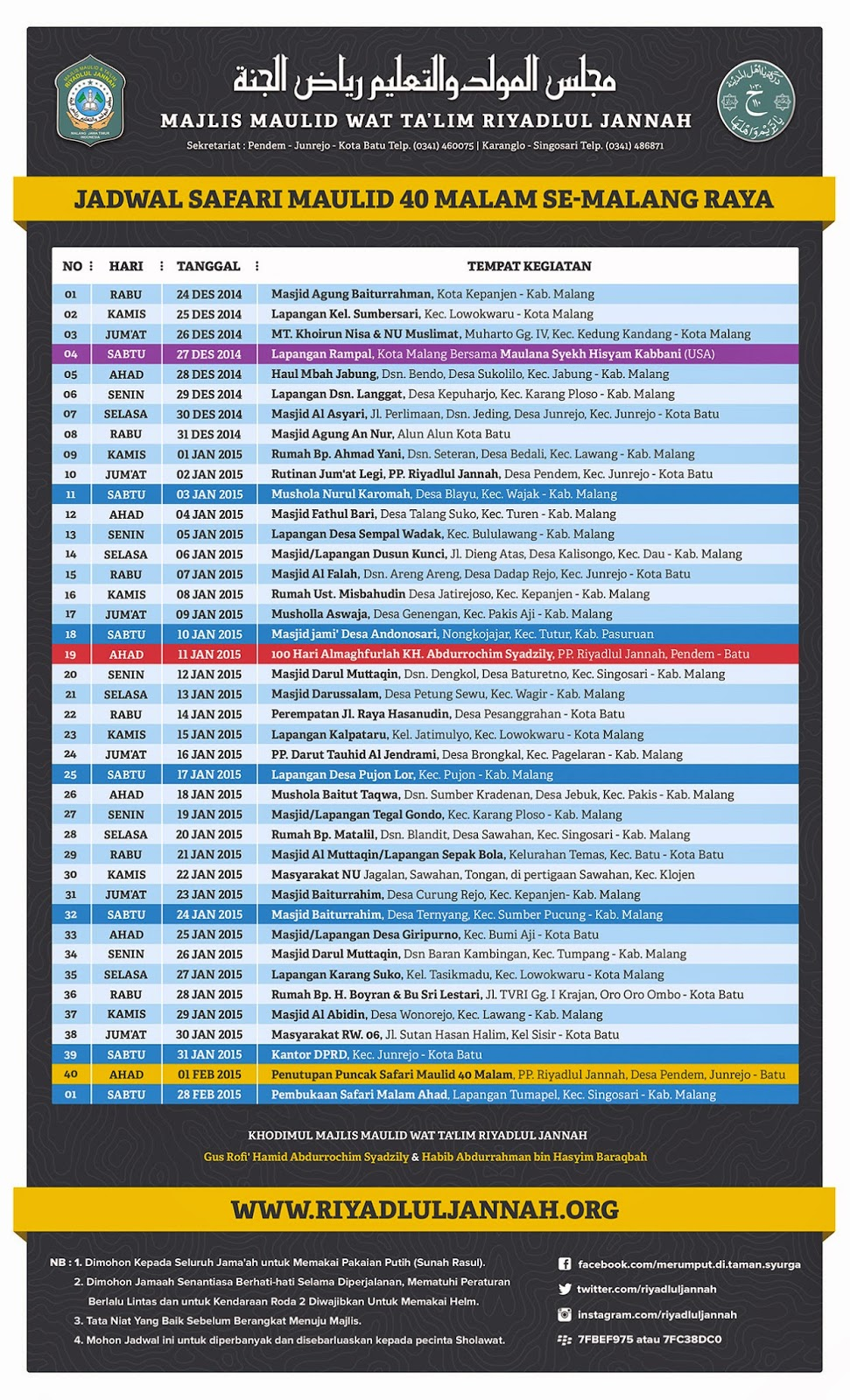Jadwal Safari Maulid 40 Malam Majelis Riyadlul Jannah Malang 2014-2015
