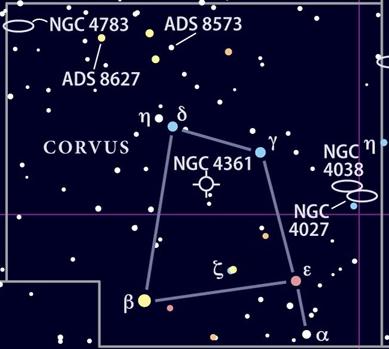 Corvus constellation map — Astronomy.com image