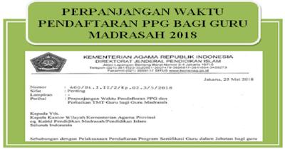 Perpanjangan Waktu Pendaftaran PPG dan Perbaikan TMT Guru bagi Guru Madrasah 2018