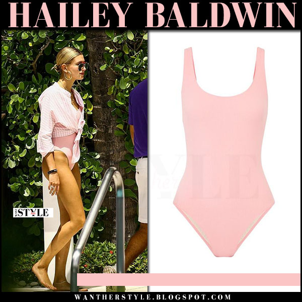 Hailey Baldwin in pink one piece swimsuit solid and striped anne marie at South Beach what she wore june 10 2017