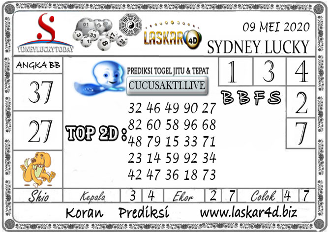 Prediksi Sydney Lucky Today LASKAR4D 09 MEI 2020